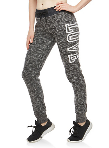 Marled Contrast Waist Graphic Sweatpants,BLACK,large