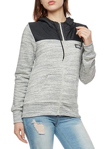 Marled Zip Up Fleece Hoodie,BLACK,large