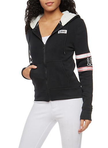 Love Graphic Sweatshirt with Sherpa Lined Hood,BLACK,large