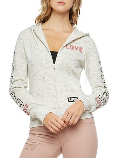 Marled Love Graphic Sleeve Hooded Sweatshirt,OATMEAL,large