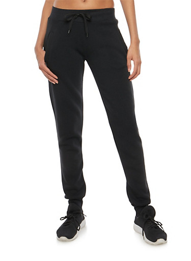 Tapered Fleece Sweatpants,BLACK,large