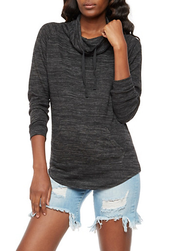 Cowl Neck Sweater,BLACK,large