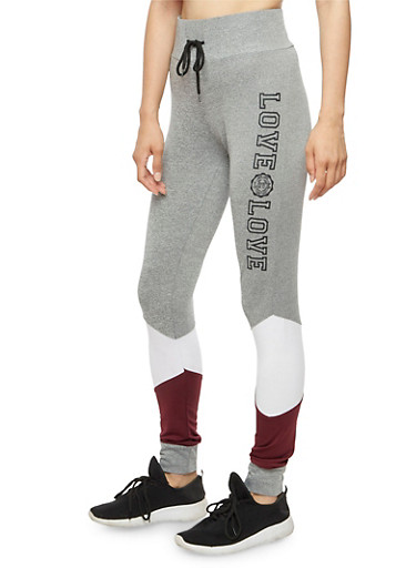 Color Block Love Graphic Joggers,WHITE,large