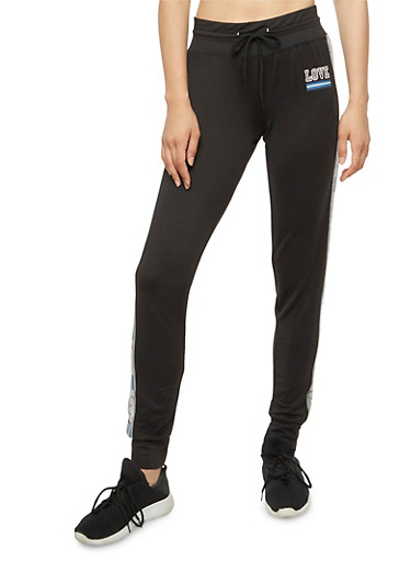 Love Graphic Jogger Pants,BLACK,large