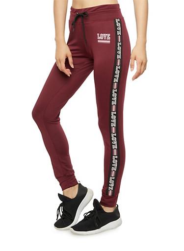 Love Graphic Jogger Pants,BURGUNDY,large