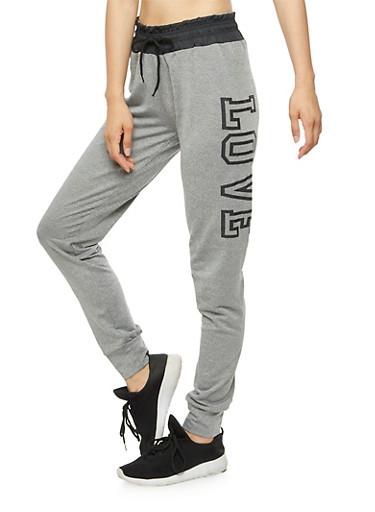 Love Graphic Jogger Pants,BLACK,large