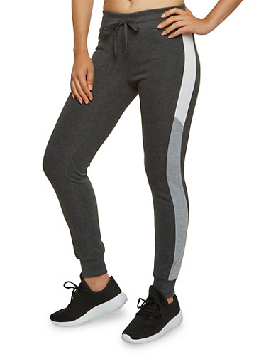 Joggers with Color Block Panels,CHARCOAL,large