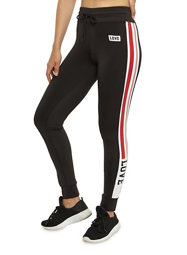 Love Side Striped Joggers,BLACK,large