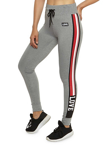 Love Side Striped Activewear Pants,HEATHER,large