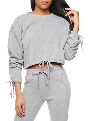Fleece Drawstring Waist Sweatshirt,HEATHER,large