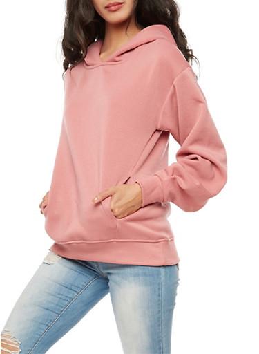 Solid Hooded Sweatshirt,MAUVE,large