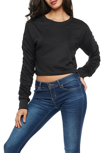 Ruched Long Sleeve Crop Top,BLACK,large