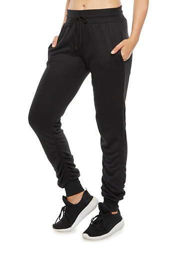 Solid Ruched Joggers,BLACK,large