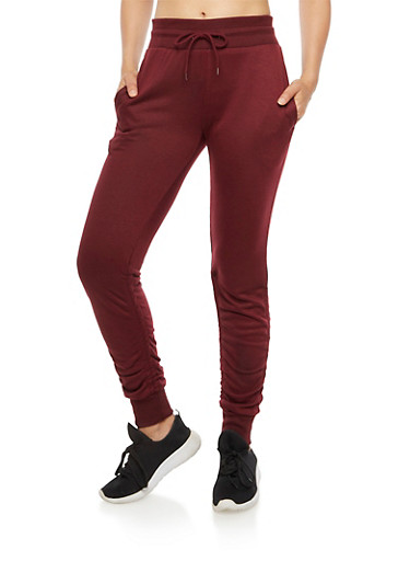 Solid Ruched Joggers,BURGUNDY,large