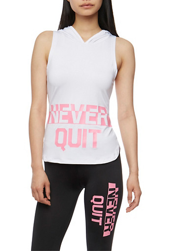 Hooded Never Quit Graphic Tank Top,PINK,large
