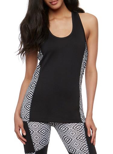 Color Block Activewear Tank Top,BLACK,large