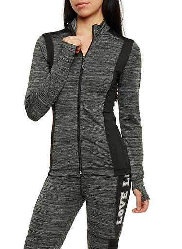 Long Sleeve Zip Front Activewear Top,BLACK,large