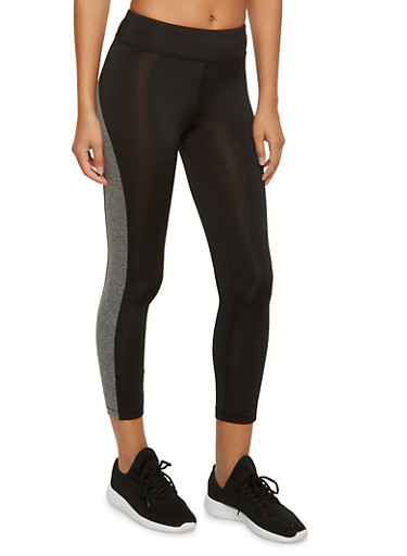 Capri Leggings with Contrast Trim and Pocket,BLACK/CHARCOAL,large