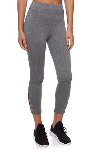 Capri Leggings with Crisscross Strap Detail,CHARCOAL,large