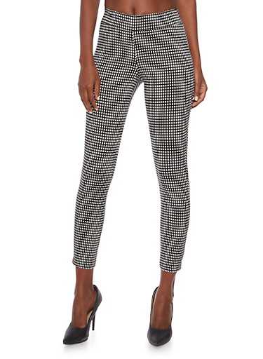 Stretch Pants in Windowpane Print,BLACK/WHITE,large