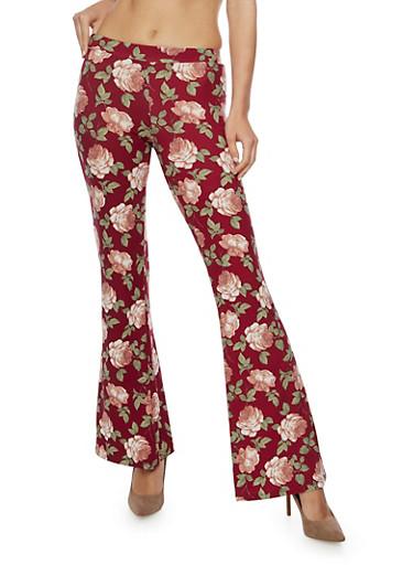 Printed Flared Pants,BURGUNDY,large