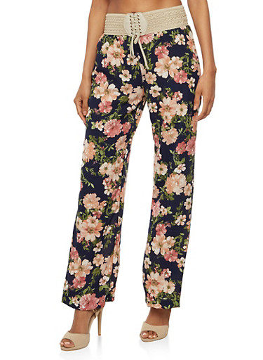 Floral Crepe Knit Pants,NAVY/MAUVE,large
