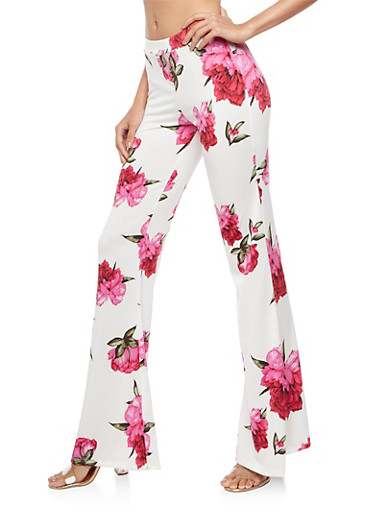 Floral Print Flared Pants,WINE/BLUE,large