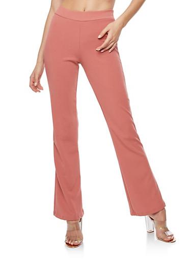 Crepe Knit Flared Dress Pants,MAUVE,large