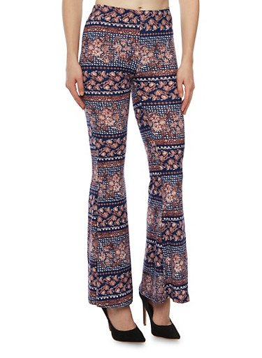 Printed Flared Pants in Stretch Knit,NAVY/BLUSH,large