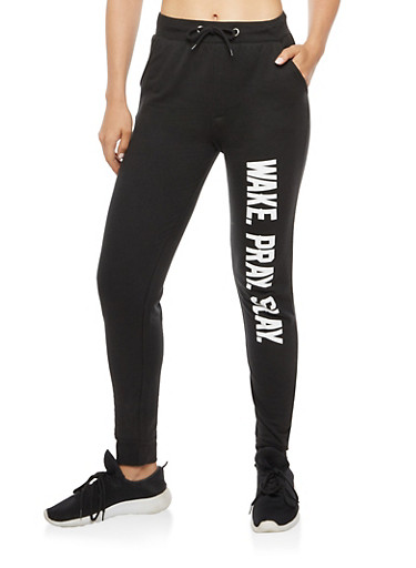 Wake Pray Slay Graphic Joggers,BLACK,large
