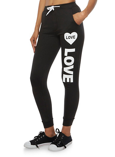 Love Heart Print Joggers with Two Pockets,BLACK,large