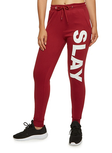 Joggers with Slay Graphic,WINE,large