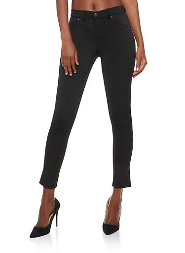 Cropped Ponte Pants,BLACK,large