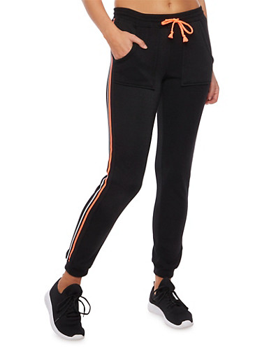 Joggers with Striped Trim,BLACK/CORAL,large