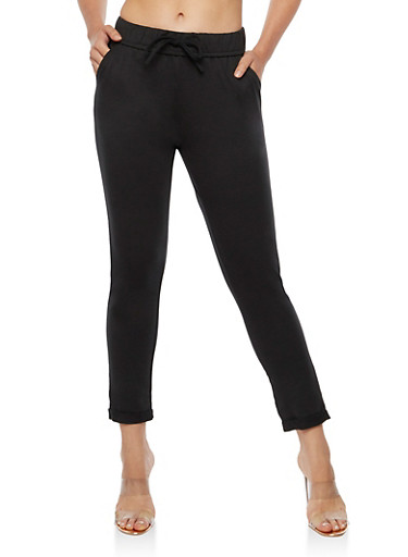 Solid Front Tie Cuff Pants,BLACK,large