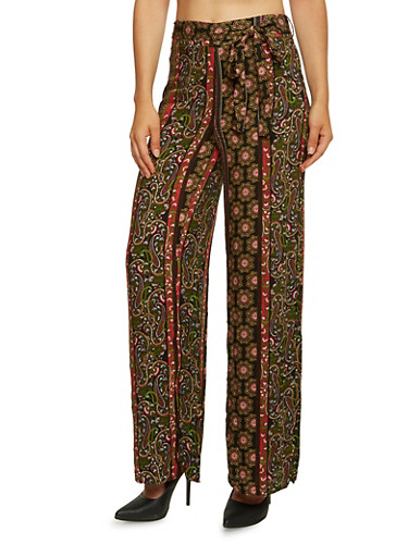 Ornate Print Palazzo Pants with Self Tie Belt,BLACK,large