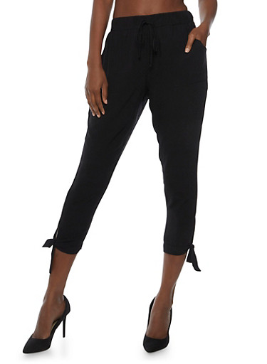 Solid Pants with Tie Ankles,BLACK,large