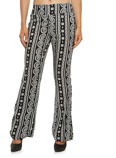 Flared Pull On Pants in Mixed Print,BLACK,large