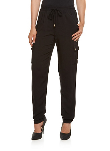 Lightweight Cargo Pants with Drawstring Waist,BLACK,large