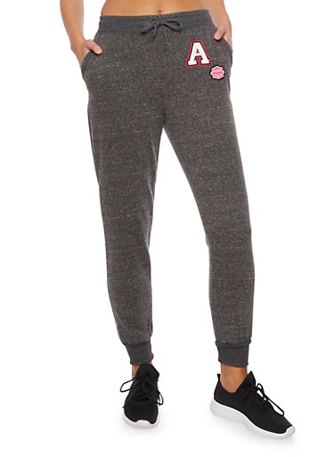 Fleece Joggers with Patches,CHARCOAL,large