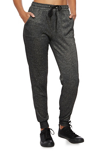 Knit Joggers with Drawstring Waist,CHARCOAL,large