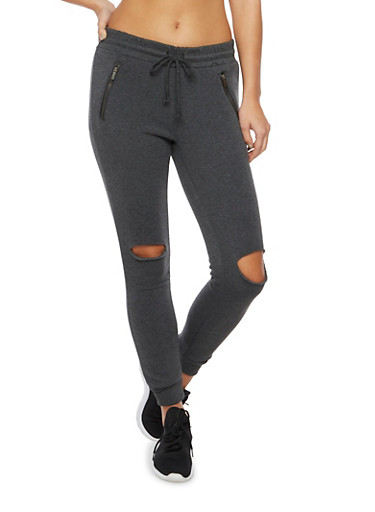 Slash Cut Joggers with Zipper Pockets,CHARCOAL,large