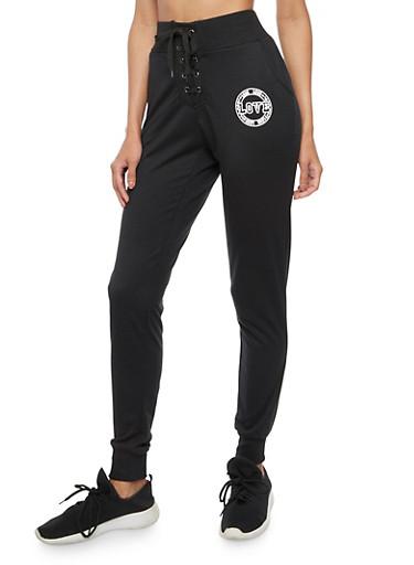 Love Graphic Lace Up Sweatpants,BLACK,large