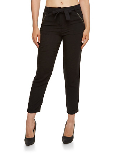 Lightweight Pants with Waist Cinch Belt,BLACK,large