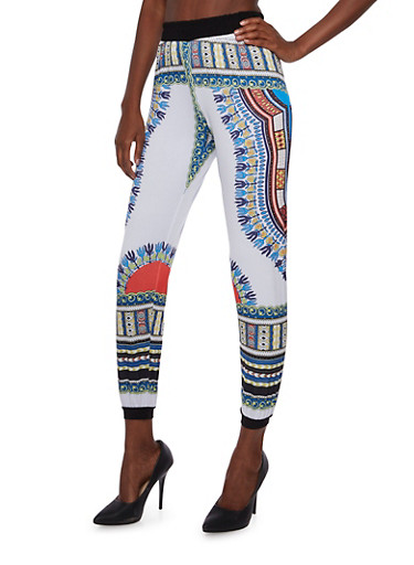 Dashiki Print Pants,BLUE,large