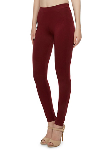 Solid Skinny Ponte Pants,BURGUNDY,large