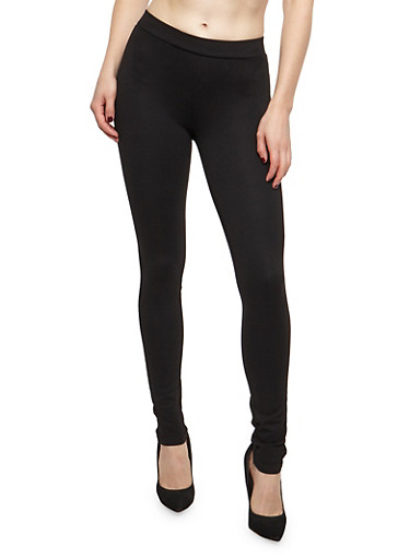 Ponte Knit Push Up Pants,BLACK,large
