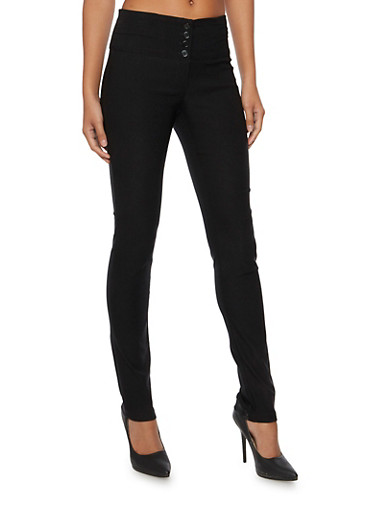 Stretch Pants with Four Button Zip Fly,BLACK,large