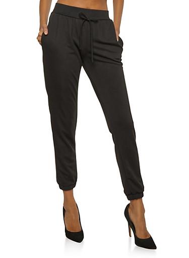 Crepe Knit Joggers,BLACK,large