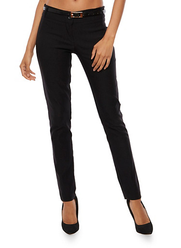 2 Button Belted Pant,BLACK,large